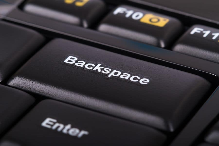 Close-up on the backspace key on a computer keyboard. Proofreading your copy is a quick way to tighten up your user interface design.