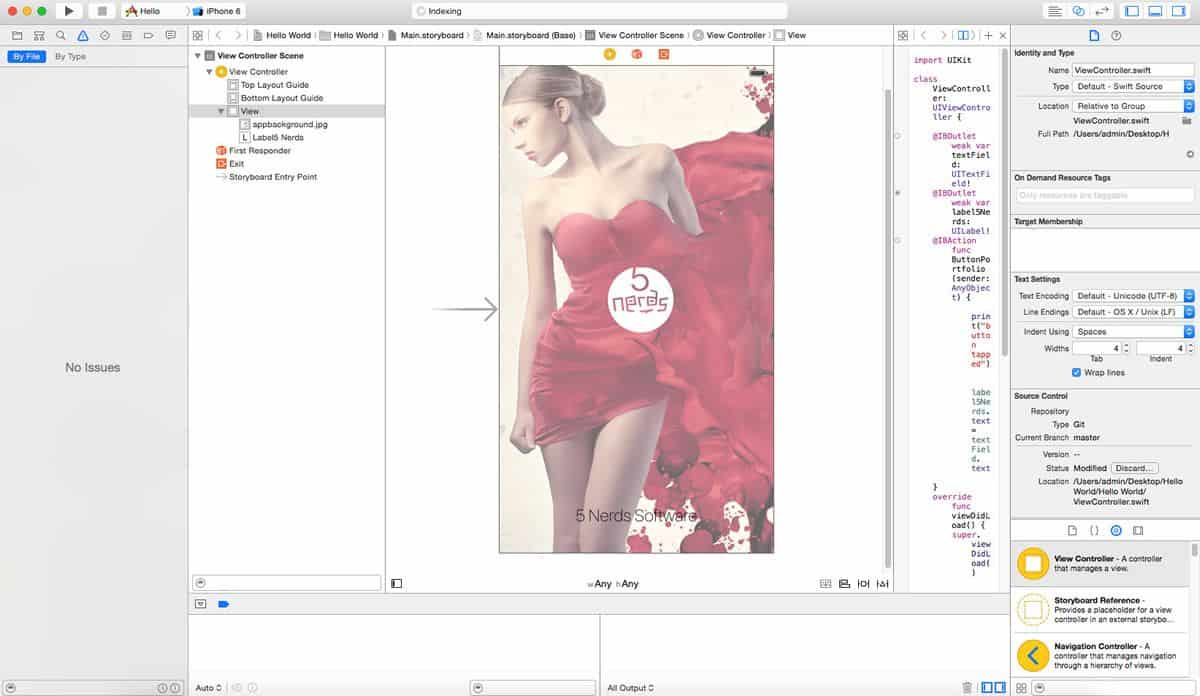 A code editor with a preview image of a screen displaying a model wearing a red dress against a backdrop of red paint. The 5 Nerds Development logo is superimposed on the screen.