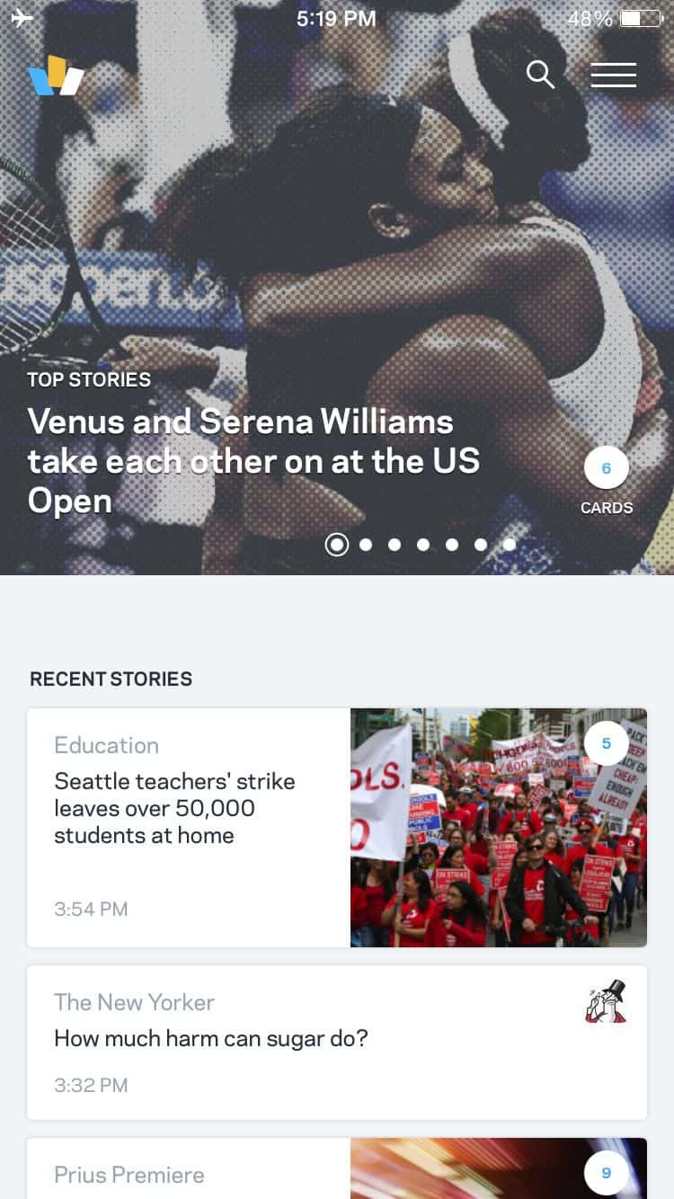 The Wildcard app design presents news in readable form.