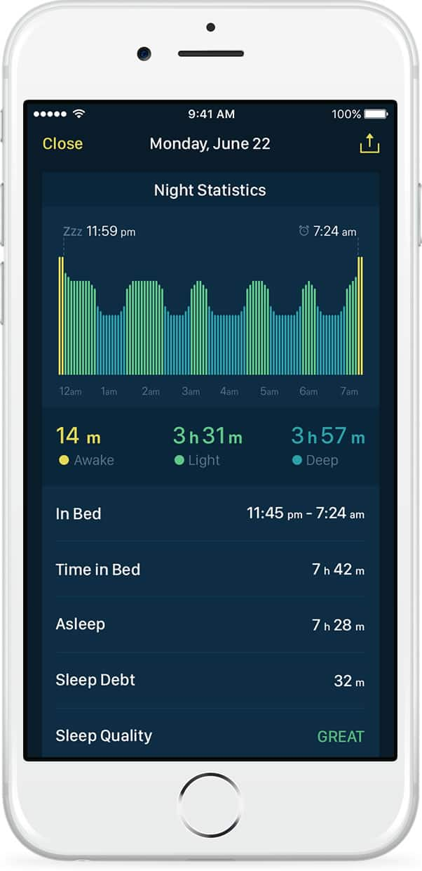 Night statistics view of alarm clock app Good Morning Alarm Clock on iPhone.