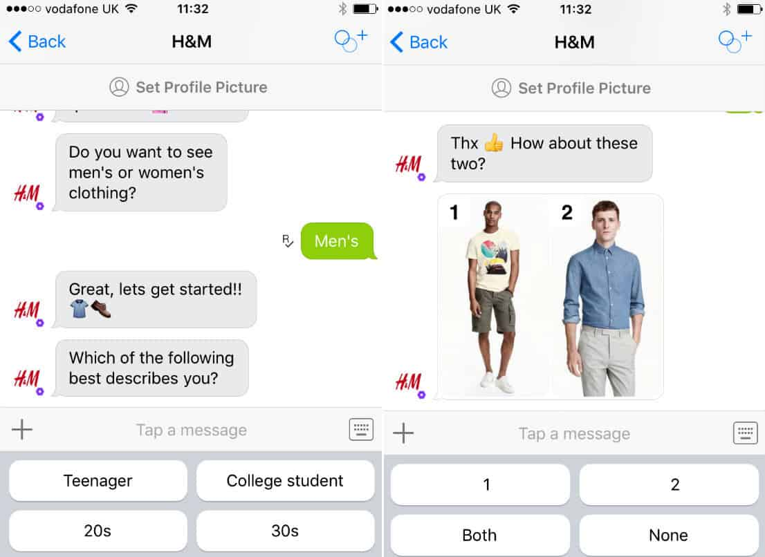 A screenshot of H&M's mobile chatbot.