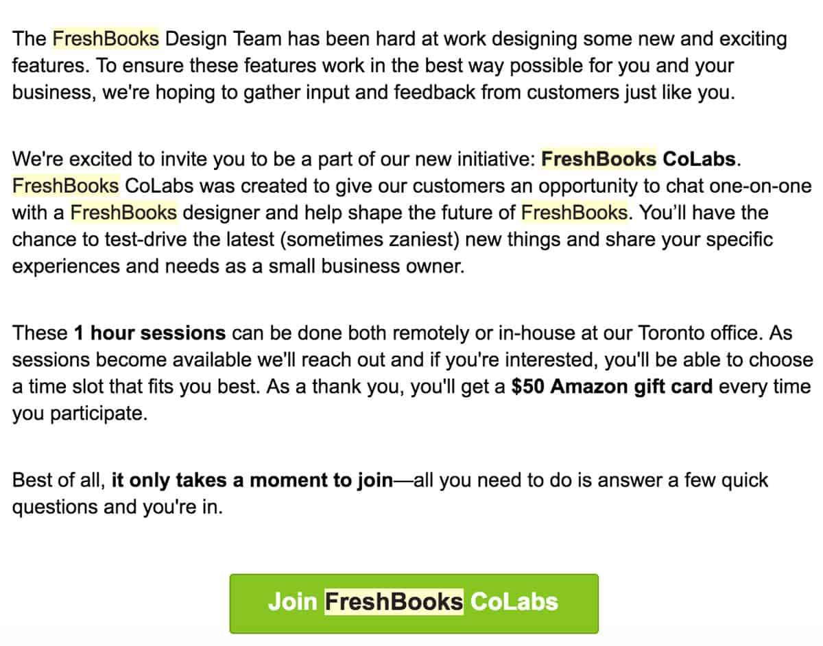 no money no problem recruiting users on a limited budget proto image of an email from freshbooks inviting users to take part in a one hour