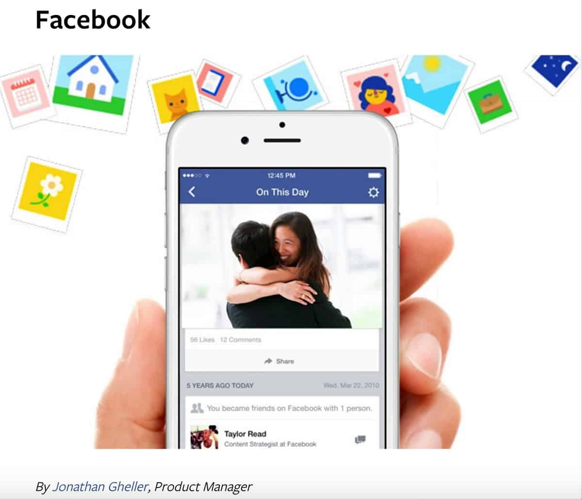 Image of Facebook On This Day Memory on an iPhone of a couple hugging.