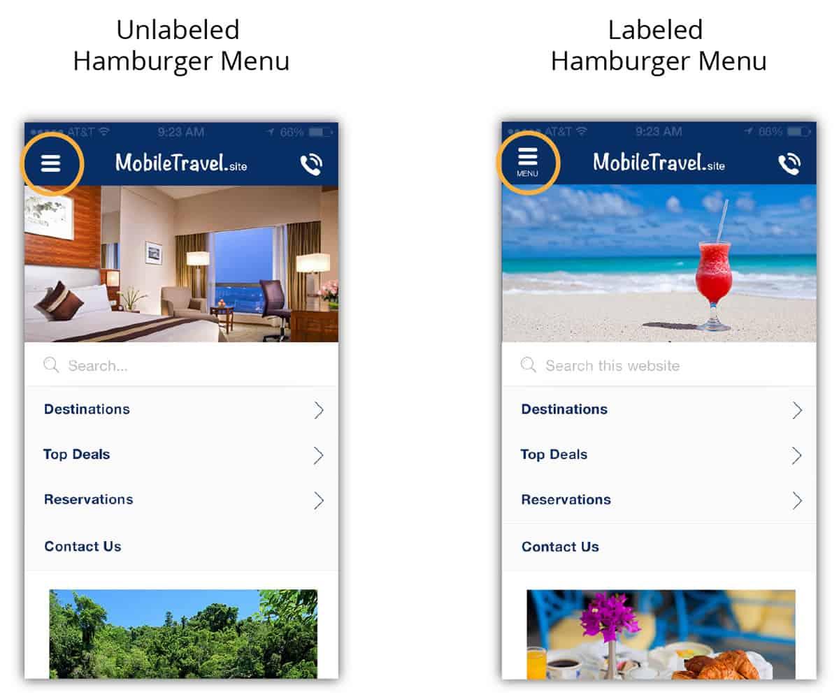 A photo of two hamburger menu variations.