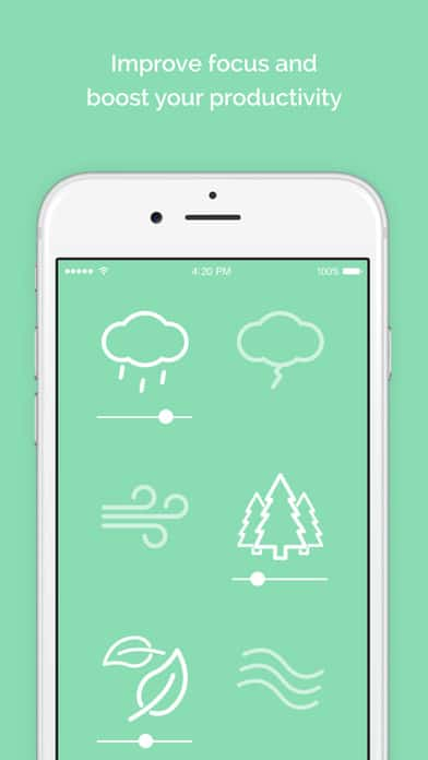 A photo of Noisli app, Top 10 Mobile App UI of December 2016