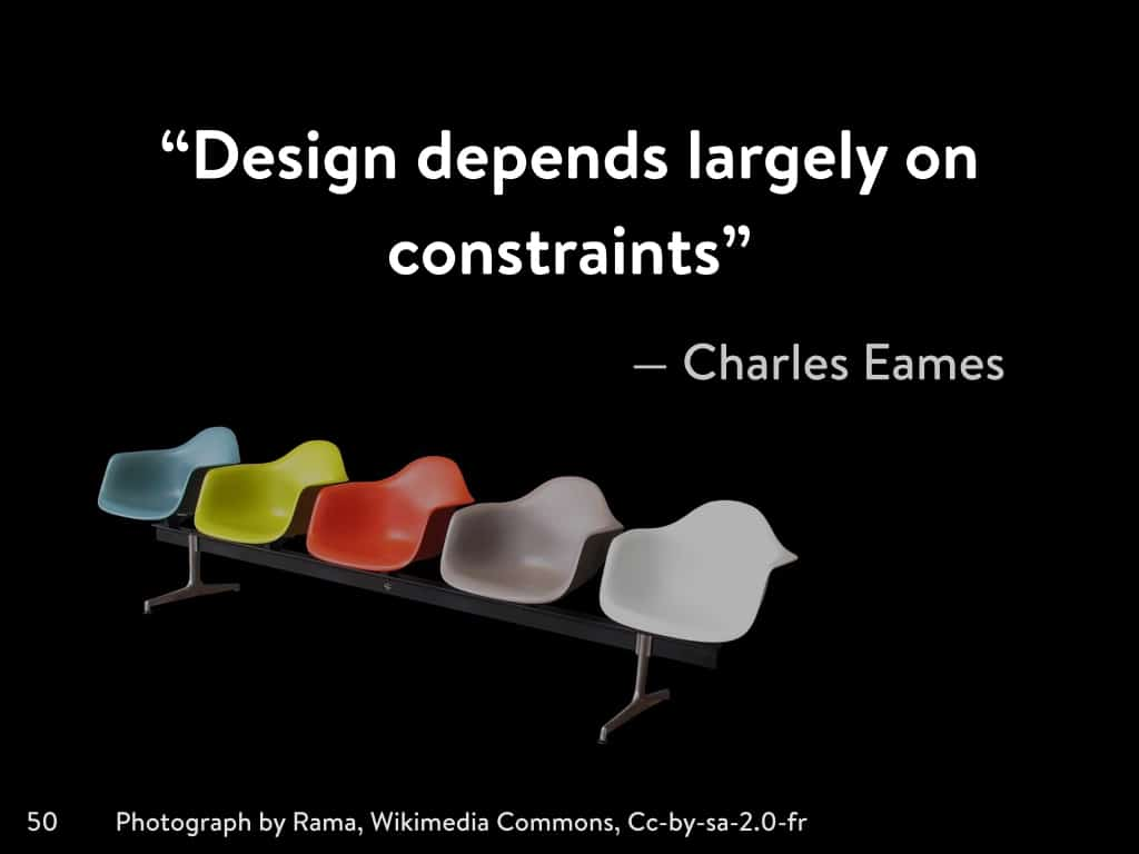 A photo of a quote about modernism as good design.