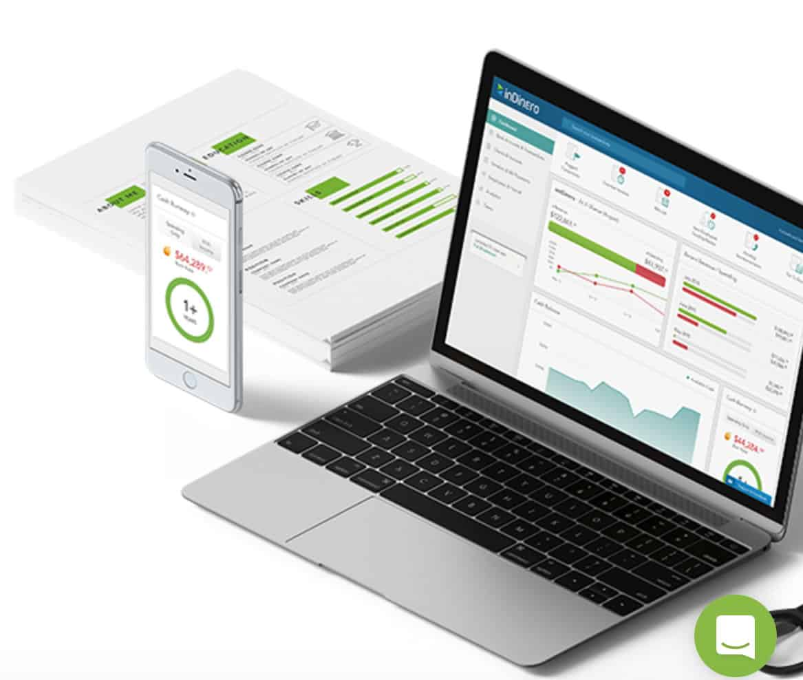 Image of the InDinero dashboard on mobile and laptop screens.