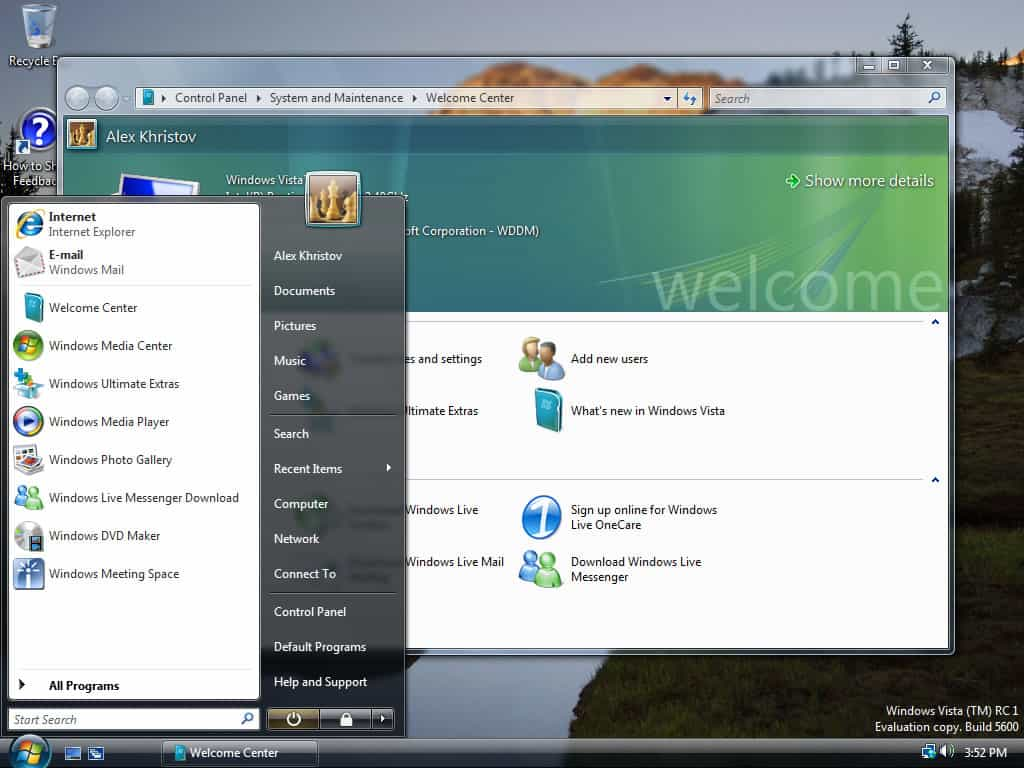 A photo of Windows Vista, which is not an example of good design.