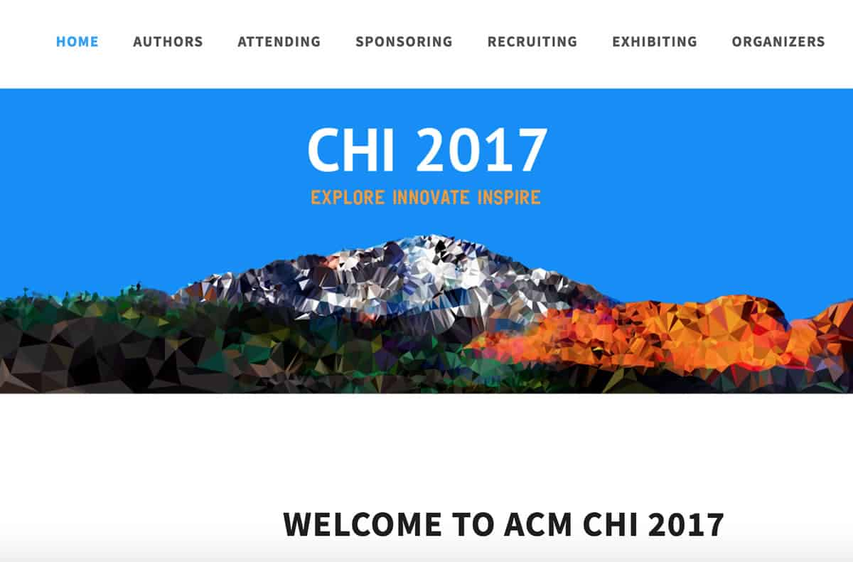 Image of the homepage of ACM CHI Conference on Human Factors in Computing Systems.