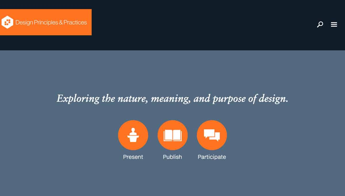 Image of home page for the Design Principles and Practices conference for 2017