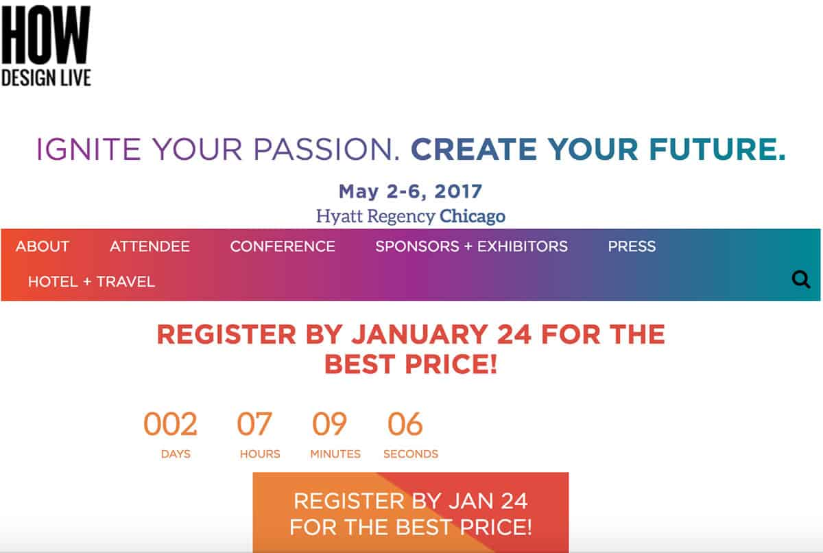 Image of the homepage for the How Design Live conference 2017.