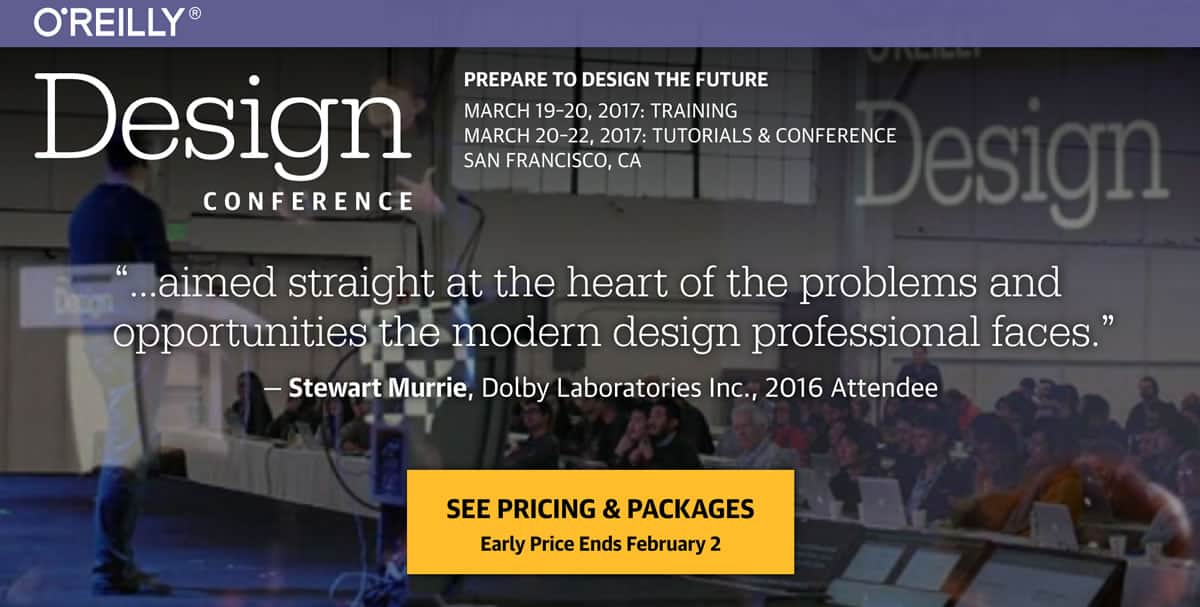 Home page for the O'Reilly Design Conference for 2017.