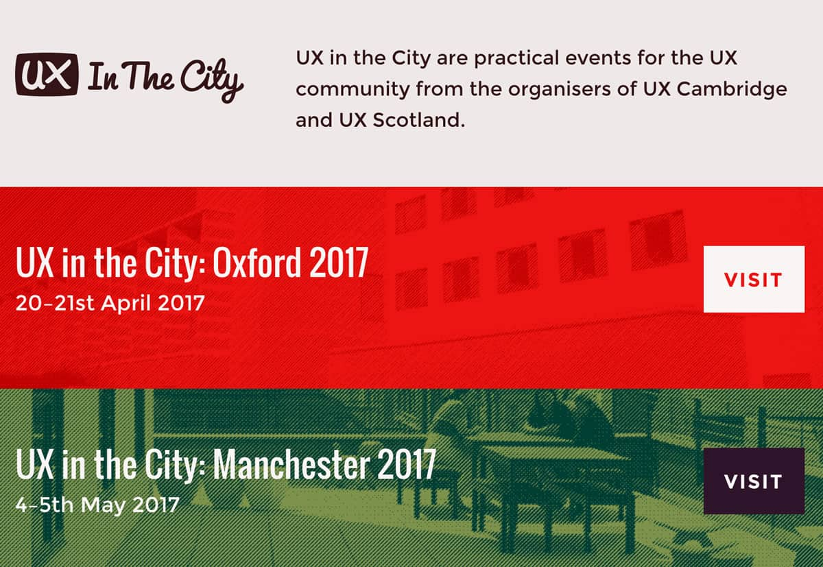 Image of the homepage for the UX in the City conferences for 2017.