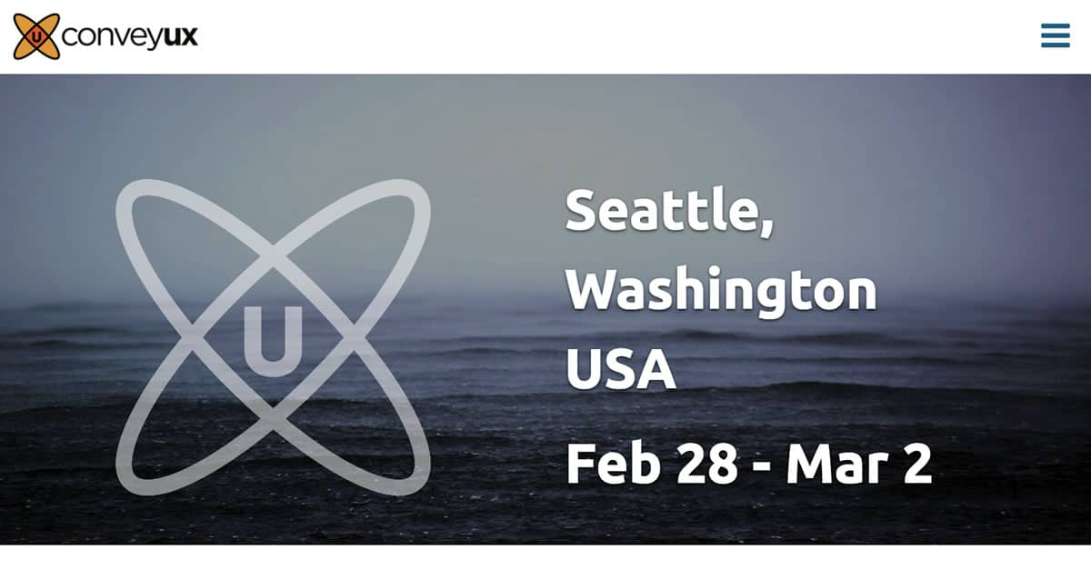 Image of the home page for the Convey UX 2017 conference.
