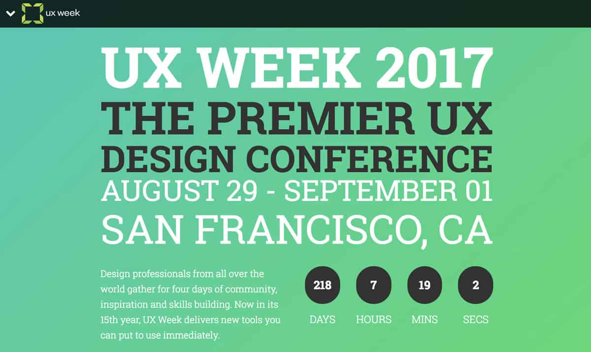 Image of the home page for UX Week 2017