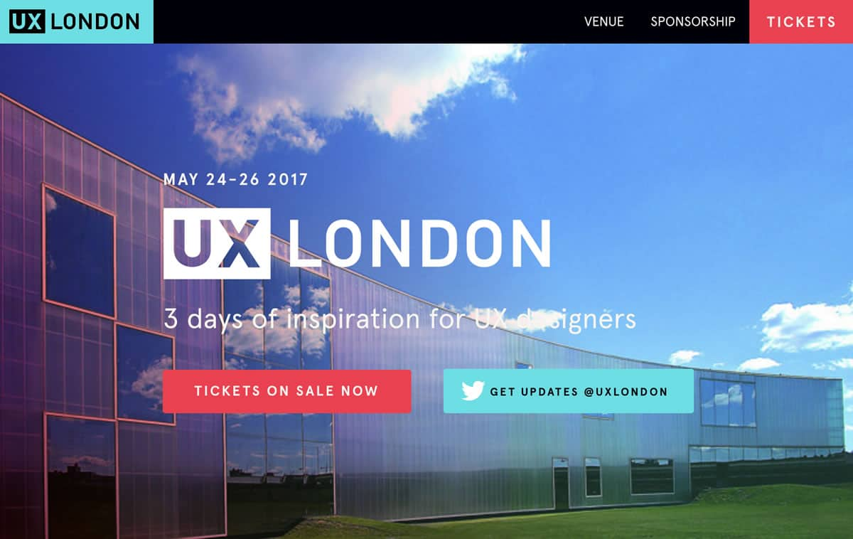 Image of the homepage for UX London 2017.