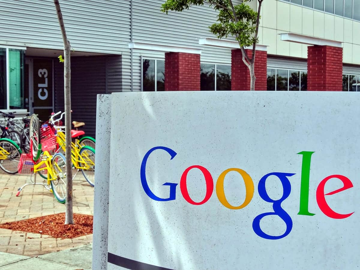 A sign outside of a Google workplace.