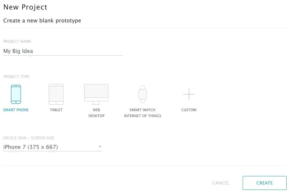A screenshot of our new project page, asking for project settings to be chosen.