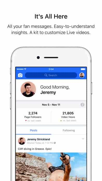 A photo of Facebook Creator, Top 10 Mobile App UI of November 2017