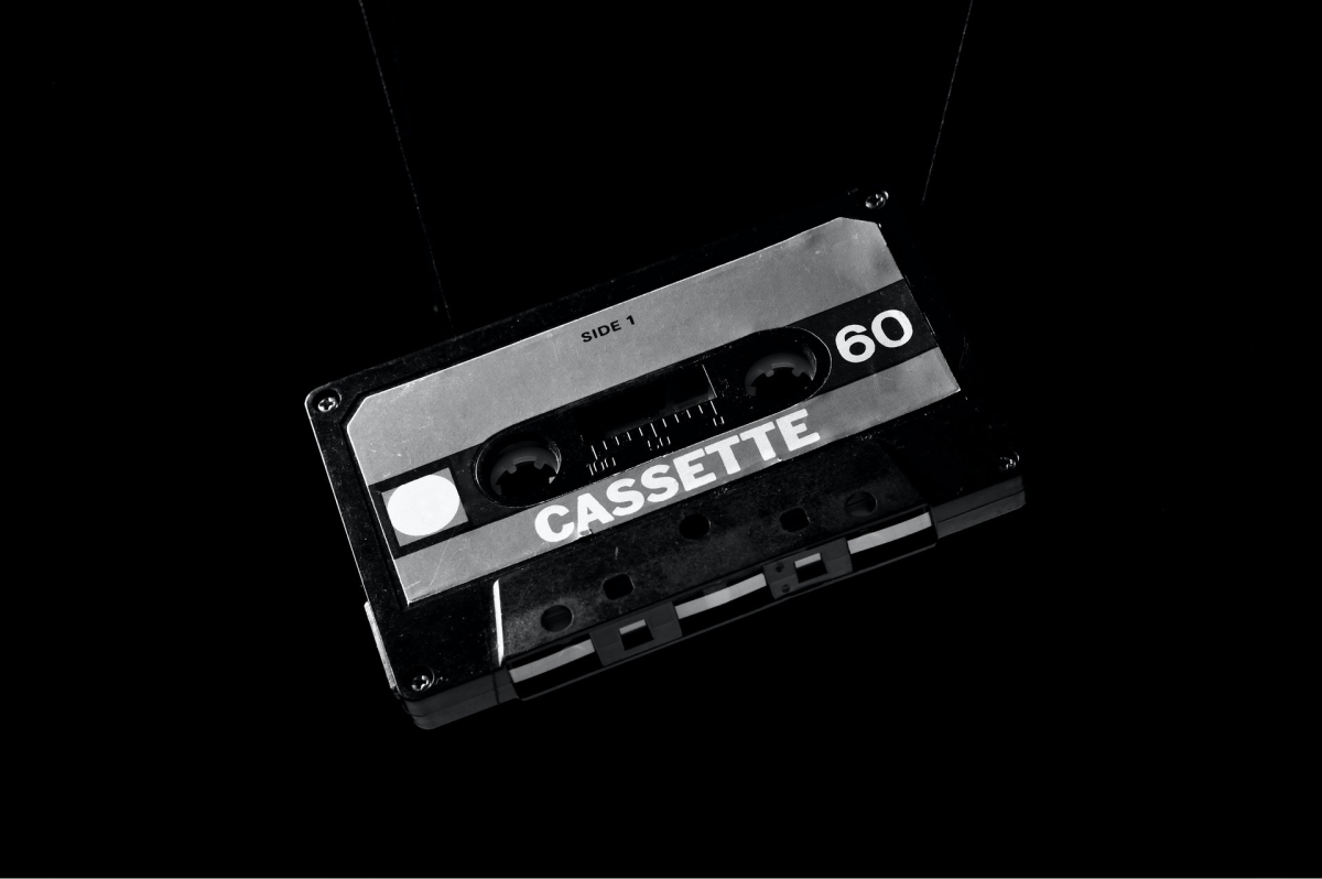 An old school cassette tape in black and white.